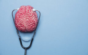 Mental health concept. human brain on a blue background